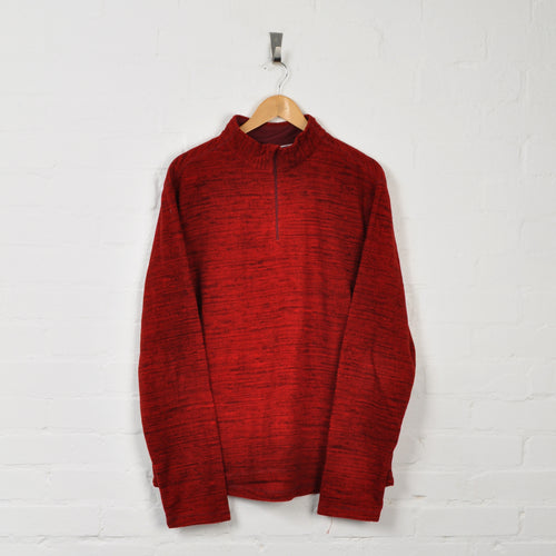 Retro 1/4 Zip Fleece Red XL