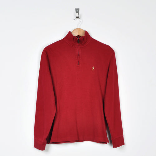 Vintage Polo Ralph Lauren 1/4 Zip Sweater Red Small