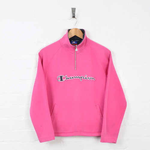 Vintage Champion 1/4 Zip Sweater Pink Ladies Small