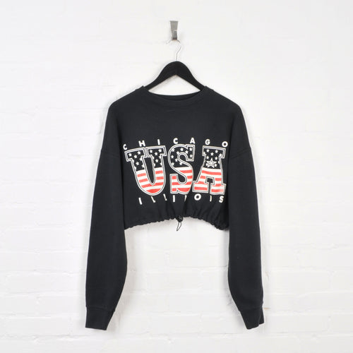 USA Rework Cropped Sweater Black Ladies Large