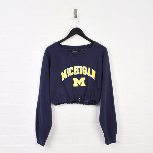 Michigan Rework Cropped Sweater Dark Blue Ladies Large