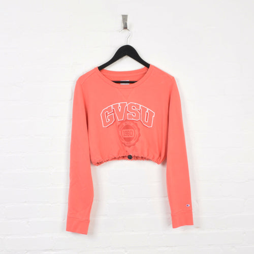 Champion GVSU Rework Cropped Sweater Pink Ladies XL