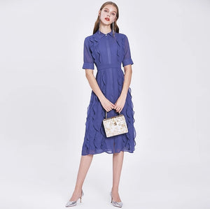 LVs Blue Chiffon Dress
