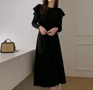 LVs Flared Pleated Dress