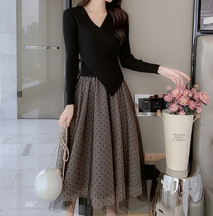 LVs Knitted Tulle Dress