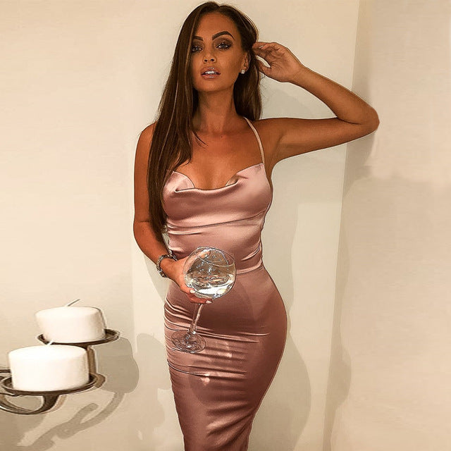 LVs Satin Bodycon Dress