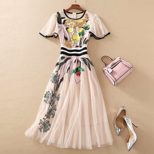 LVs Embroidery Summer Dress