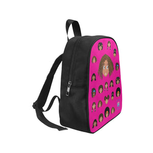 Hot Pink Girl with Curly-Hair Mini Backpack