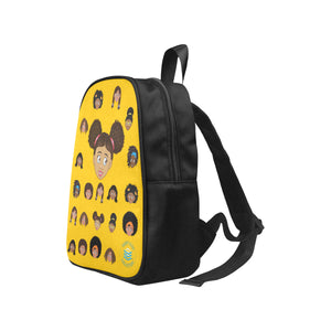 Yellow Girl with Puffs Mini Backpack