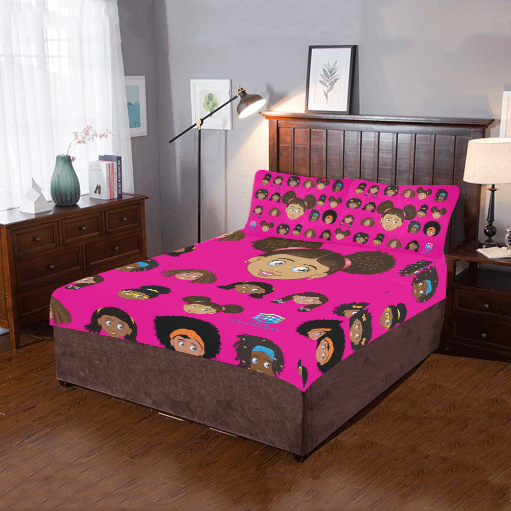 Girl Puff Twin/Full Duvet Cover Set (inserts are NOT included)