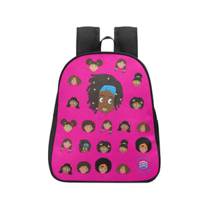 Hot Pink Girl with Locs Mini Backpack
