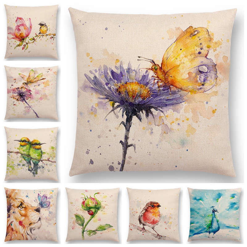 Newest Animals Cushion Cover Lion Dog Lion Birds Rabbit Deer Sofa Throw Pillow Case 16 Design Available Home Textile Cushion Cover