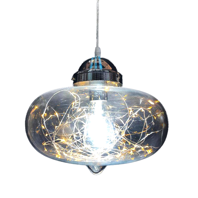Adjustable Bauble Pendant Light w Fairy String Lights Inside