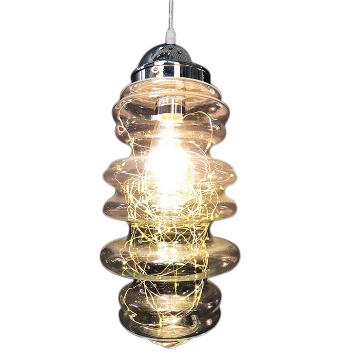 Adjustable Pendant Light w Fairy String Lights Inside