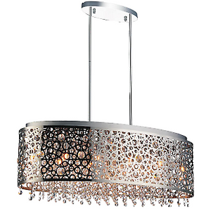 Adjustable Semi Flush Mount Stainless Steel and Crystal Light