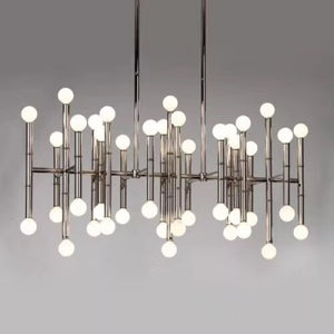 Chrome Rectangular Chandelier w Individual Lights