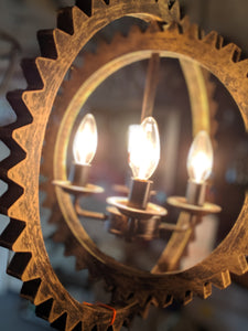 Contemporary Hanging Cog Pendant Light