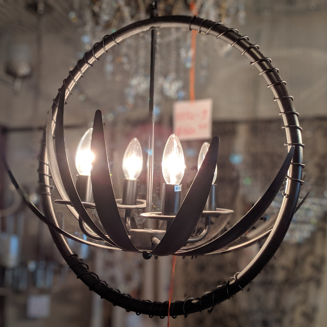 Contemporary Round Vintage Metal Hanging Light