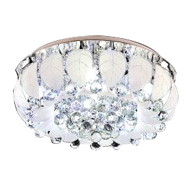 Flush Mount With Crystal & Glass Ceiling Light