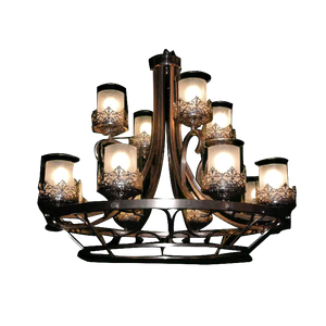Luxurious Modern Brown Iron Chandelier with Glass Cup Shades