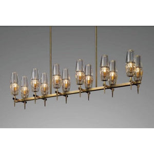 Modern Adjustable 12-Light Linear Brass Chandelier