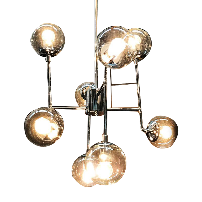 Modern Chandelier with 8 Crystal Globes