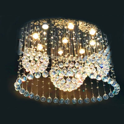 Modern Flush Mount 6-light Crystal Raindrop Ceiling Light