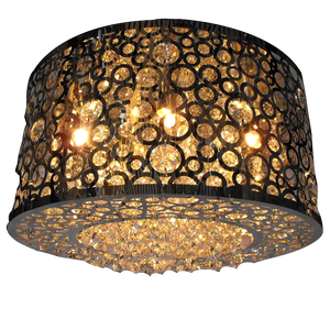 Modern Round Crystal Chandelier with Adjustable Rods