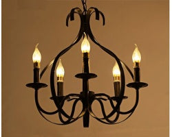 Vintage 5-Light Iron Chandelier