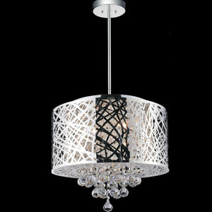SilverFish - Metal Chrome Semi Flush Mount Round Crystal Ceiling Light