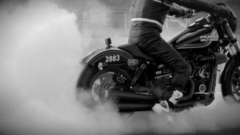 Large Motorcycle doing a Burnout