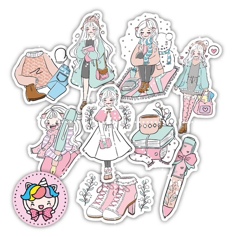 Winter foxigirl diecut set