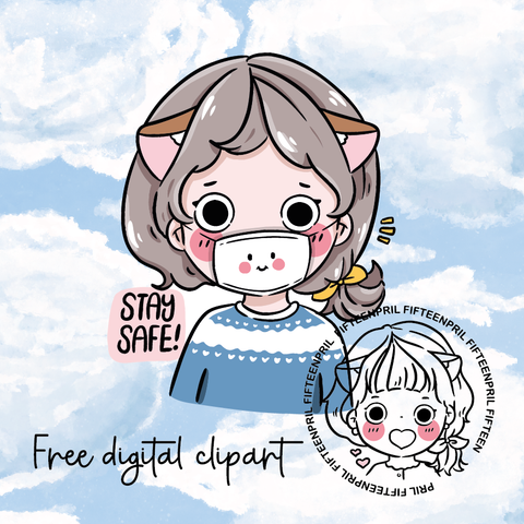 FREE- Stay safe -LIGHT SKIN digital clipart (digital files only)