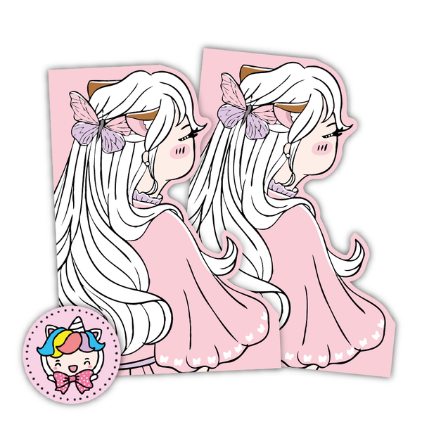 Pink butterfly foxigirl shaped dashboards-hair