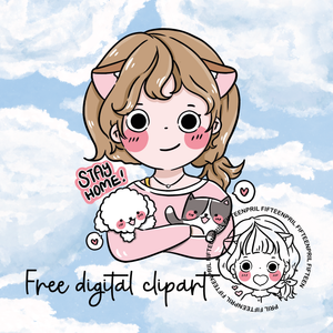 FREE- Stay home -LIGHT SKIN digital clipart (digital files only)