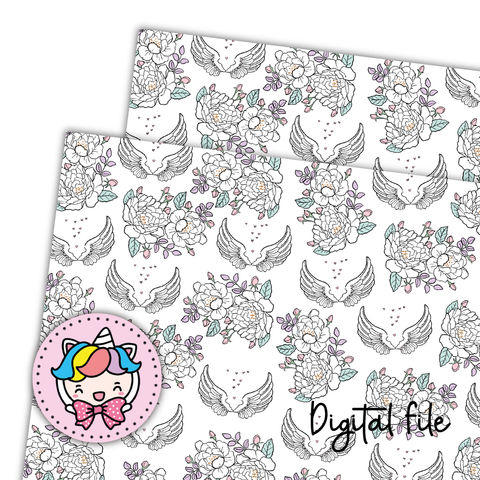 Wings floral digital paper (digital files only)