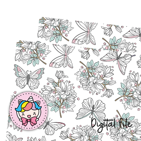 Butterfly floral digital paper (digital files only)
