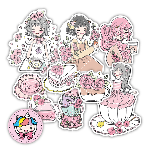 Tea time oxigirl diecut set