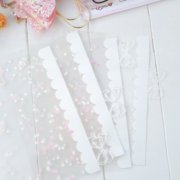 Clear white ribbon tab dividers-LIMITED QUANTITIES ONLY-FINAL RESTOCK