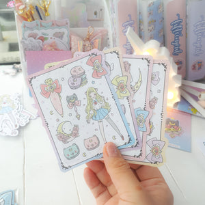 Moon magical foxigirl sticker set