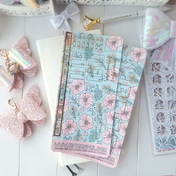 Teal floral hobonichi week sticker kit-gold foiled