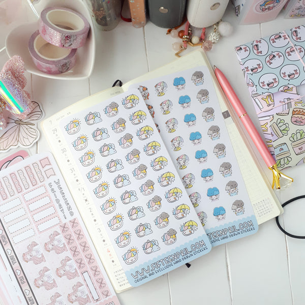 H003-Foxigirl weather hobonichi sticker