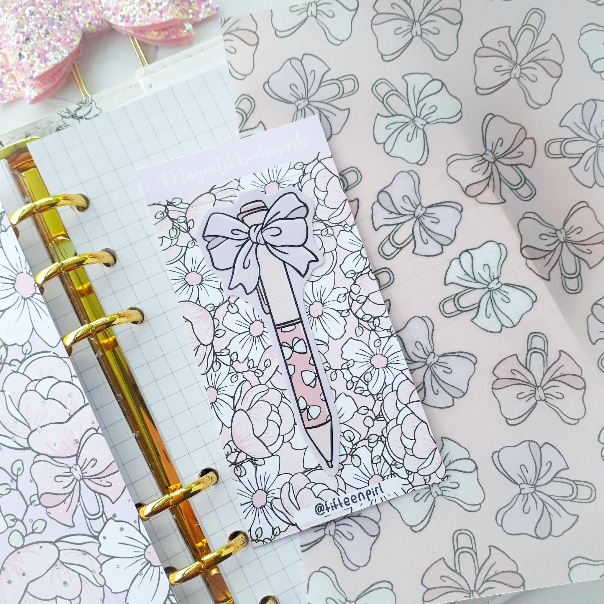 Pastel ribbon pen foxigirl magnetic bookmark-LIMITED QUANTITES ONLY