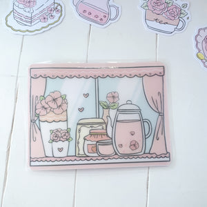 Tea time window clear Sticker Pocket