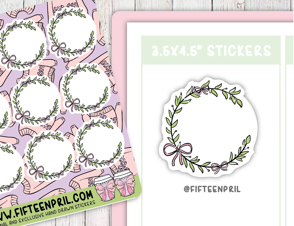 F084-Ribbon round sticker