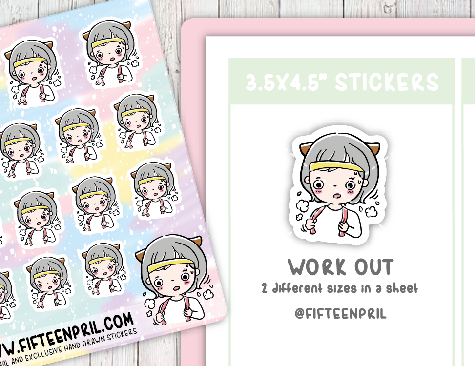 F070-work out Foxigirl sticker