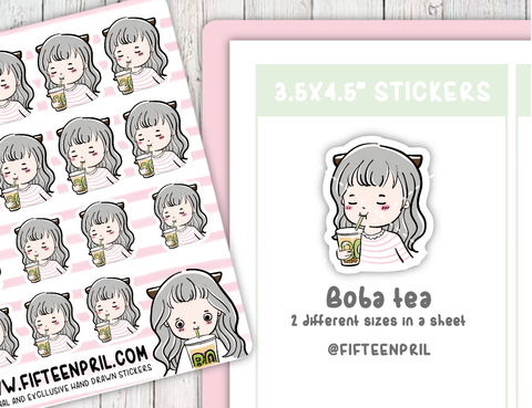 F016-Boba tea Foxigirl sticker