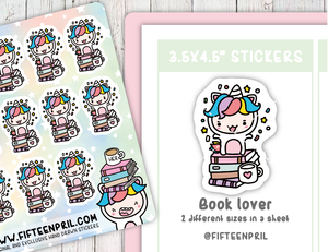 U003-Book lover Unikin stickers
