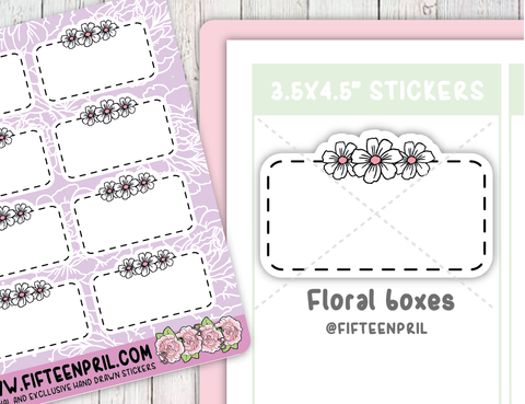 F066-Roses/ floral half box stickers