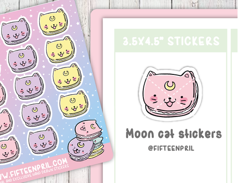 Moon cat stickers